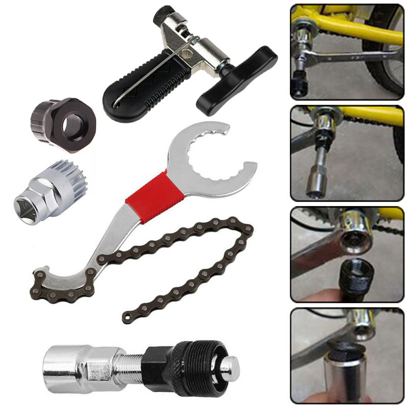 5Pcs Multifunctional Repair Gear Tool Set MTB Bike Cycling Chain Remover Whip Wrench Lock Crank Puller Repair Tools