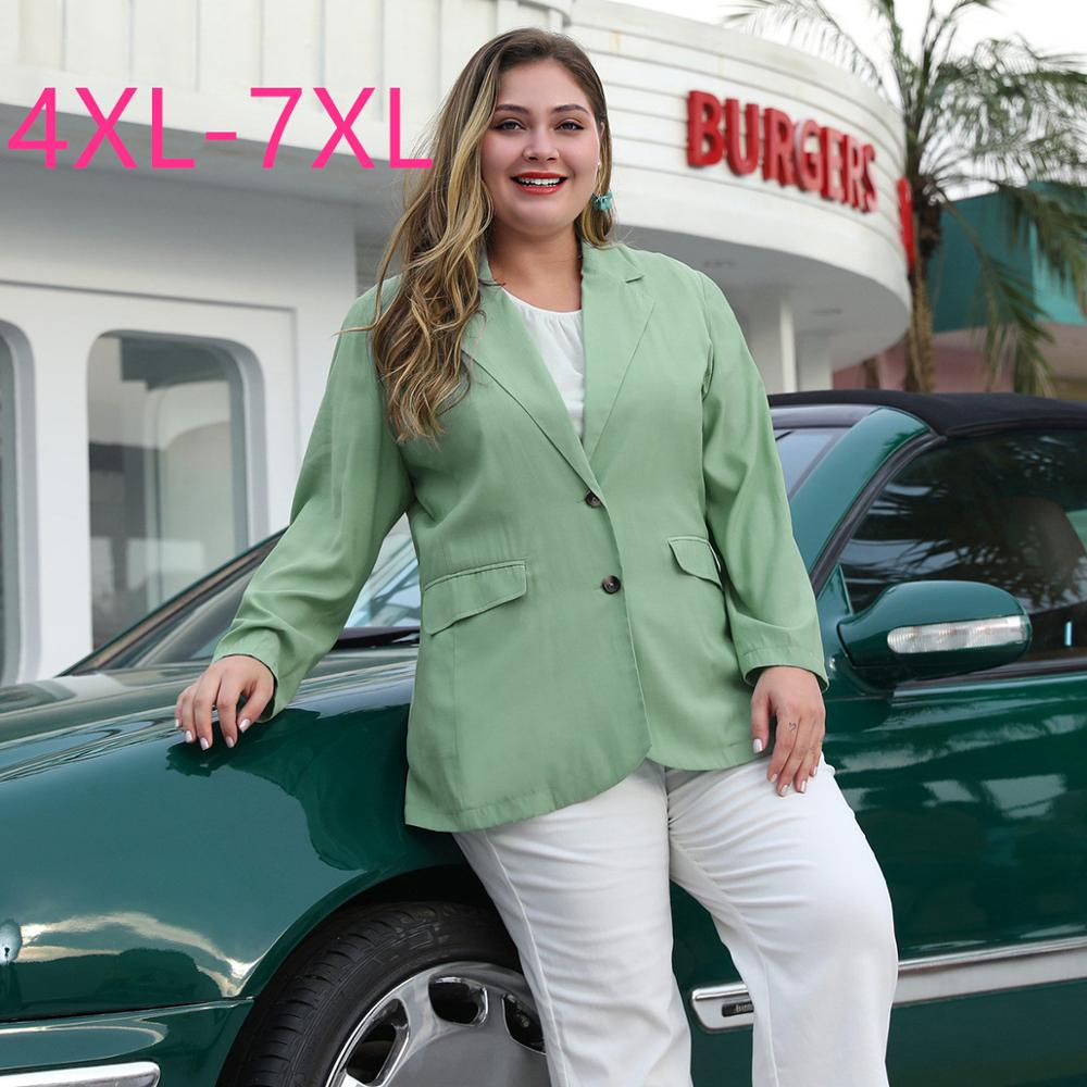 2020 Spring Autumn Plus Size Blazer For Women Large Casual Wear Loose Long Sleeve Two Button Coats Green Blazers 4XL 5XL 6XL 7XL