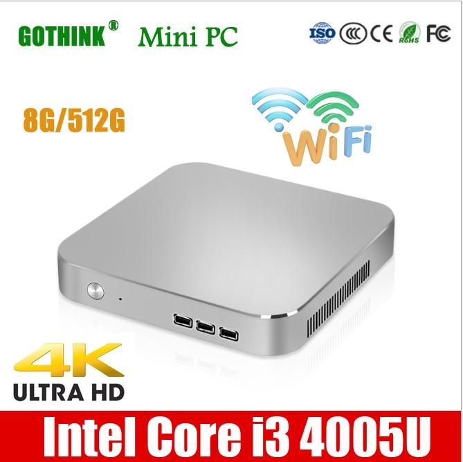 GOTHINK Mini Pc Intel Core I3 4005U Dual Core Four Thread 1.7Ghz WIN7/8/10 LINUX System 300M WiFi 4K HDMI Pocket Pc VGA USB3.0