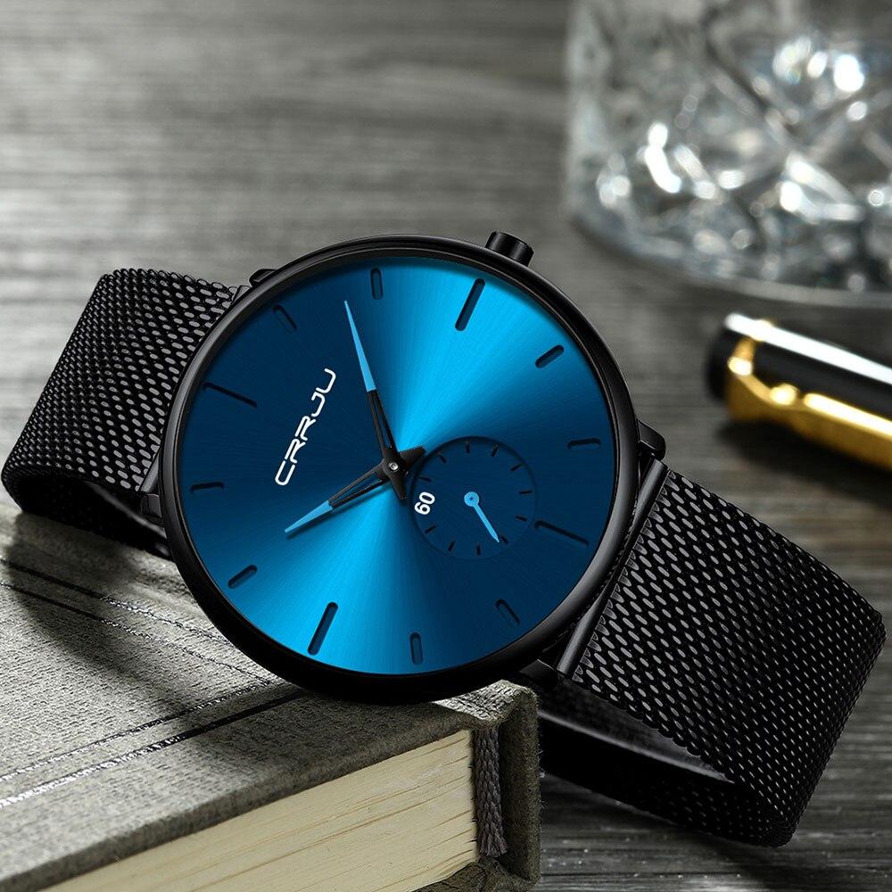 H1cf0a89bb58940d783552c11ffda6b3a2 CRRJU Ultra Thin Blue Stainless steel Quartz Watches Men Simple Fashion Business Japan Wristwatch Clock Male Relogio Masculino