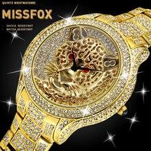 MISSFOX Tiger Mens Watches Top Brand Luxury Red Gemstone Eye