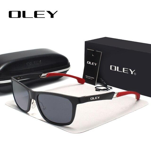 OLEY New Aluminum Magnesium Polarized Men Sunglasses Expandable hollow leg special anti slip design  Customizable logo Y7144