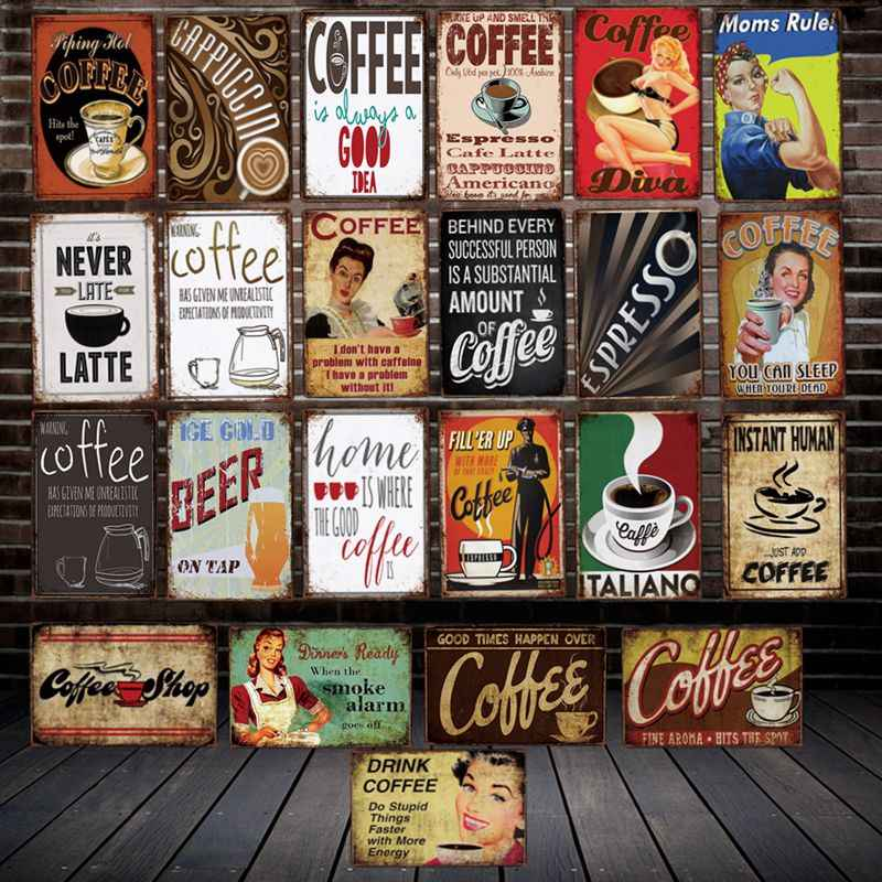 [ WellCraft ] Humor Coffee Mom rules Metal Plaque Wall Tin Signs Posters Vintage Painting Cafe Custom Decor LT-2034