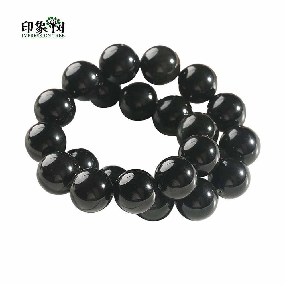 1Pc Natürliche Runde Schwarz Obsidian Perlen Glatte Schwarz Runde Perlen 6 8 10 12 14mm Für DIY Schmuck machen armband halskette 1890
