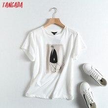 Tangada 2021 D'été Femmes Vintage Impression Coton T-shirt À Manches Courtes De Haute Qualité Élégant Dames T-Shirt Décontracté Petit Haut 6D20