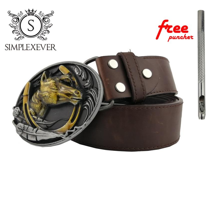 Men's Embossed Silver Horse Head Art Design Cowboy Style 3D Cool Belt Buckle Jeans Accessory
