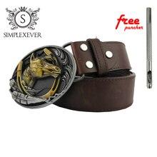 Мужская тиснением серебро голова лошади арт дизайн ковбойский стиль 3D прохладный пряжки ремня джинсы аксессуар