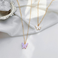 Cute Butterfly Necklace for Women Gold Color Collarbone Chain Pendant Necklace Statement Fashion Charm Jewelry Gifts Link Chain 2019 statement multilayer letter pendant necklace charm gold necklace bread beads chain necklace jewelry for women