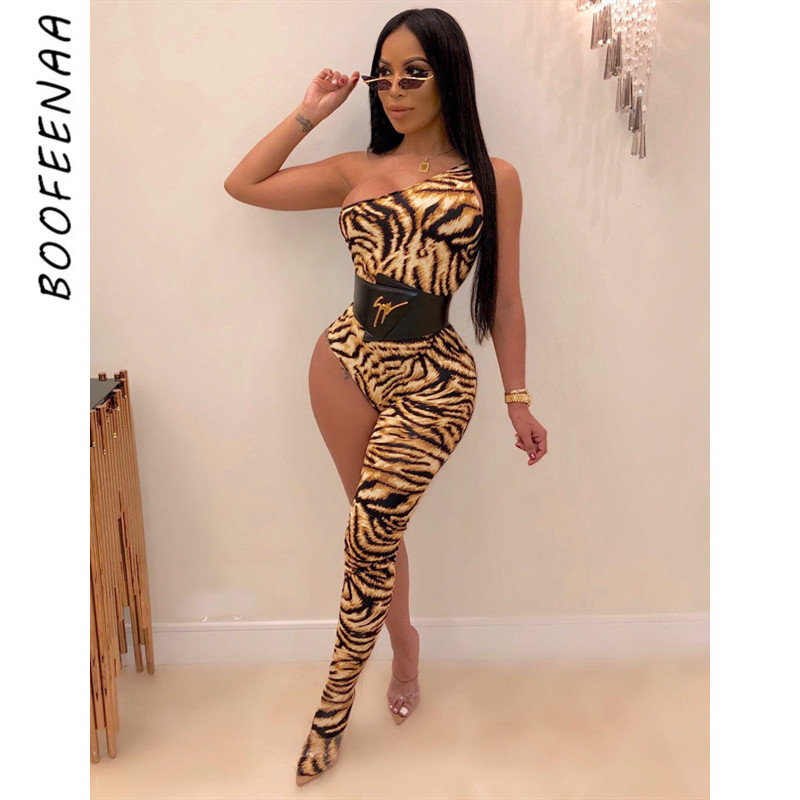 BOOFEENAA One Shoulder Legged Bodycon Jumpsuit Kyliejenner Outfit Fall 2019 Going Out One Piece Romper Women Sexy Club Jumpsuits