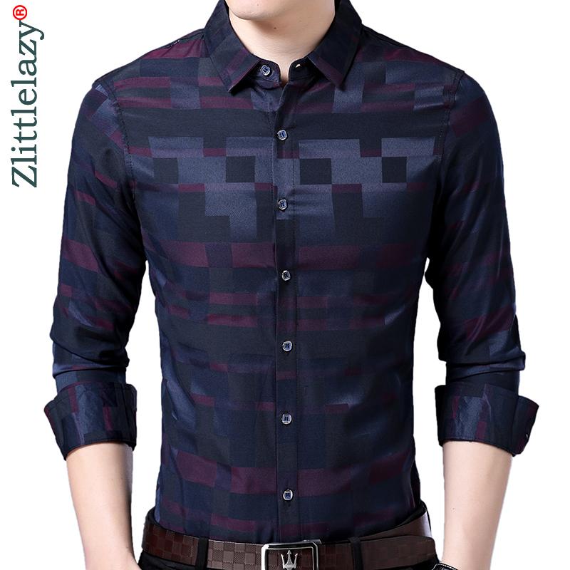 2019 Brand Casual Luxury Plaid Long Sleeve Slim Fit Men Shirt Streetwear Social Dress Vintage Shirts Mens Fashions Jersey 90321