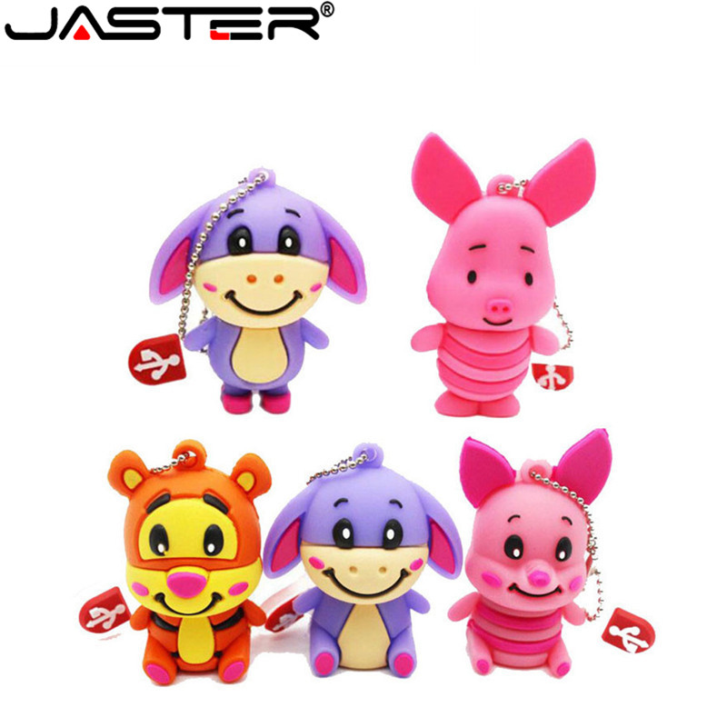 JASTER HOT! Cute Donkey Pen Drive Cartoon 4GB/16GB/32GB/64GB Winnie Bear Series Usb Stick Memory Card U Disk Gift Free Shipping