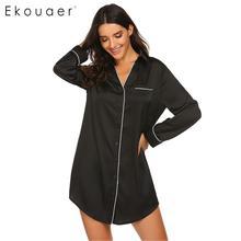 Ekouaer Lange Hülse Sleep Nachthemd Herbst Nachtwäsche Frauen Turndown Kragen Taste Unten Satin Nachthemd Kleid