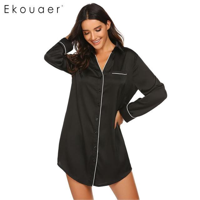 Ekouaer Sleepshirts Camisola de Manga Longa Outono Sleepwear Mulheres de Abertura de cama Colarinho Botão Para Baixo Vestido de Pijama De Cetim