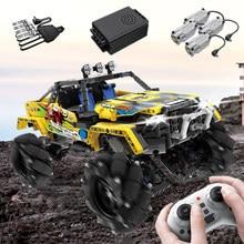 1030 adet uzaktan kumanda sürüklenme araç yapı taşları Off-Road Motor gücü araba tuğla Mecanum tekerlekler çocuk oyuncakları hediyeler