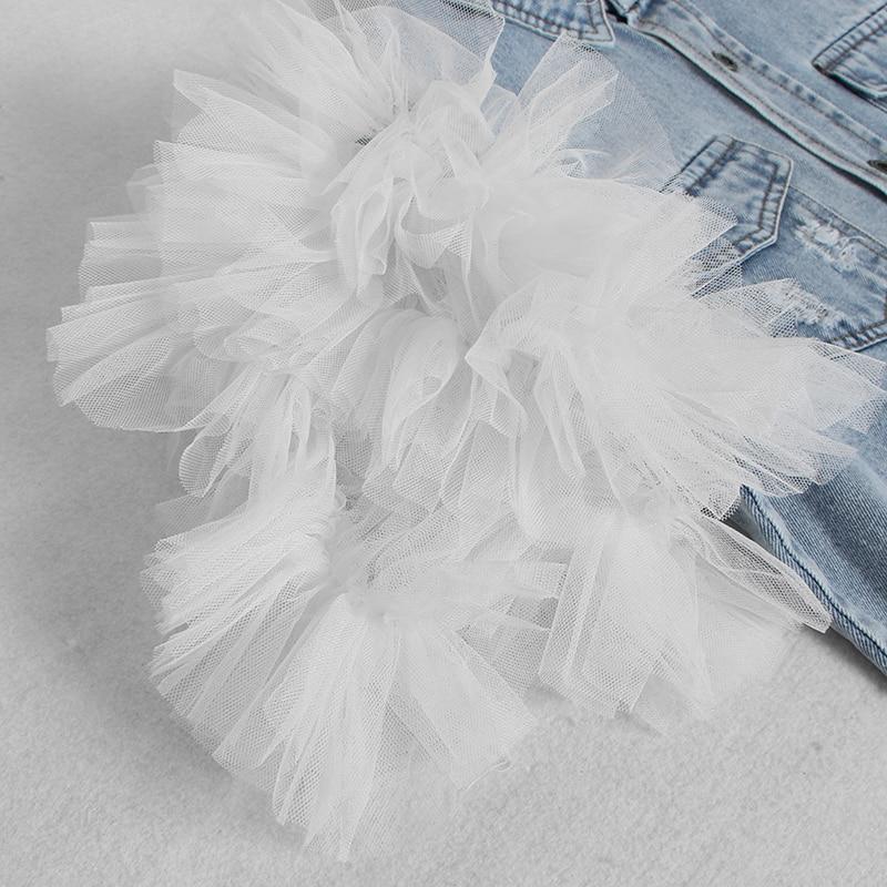 Image 4 - TWOTWINSTYLE Ruffles Denim Patchwork Womens Jacket Lapel Collar Puff Sleeve Summer Long Coats FemaleJackets