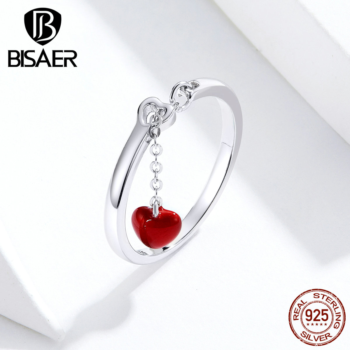 Heartbeats Rings BISAER Valentines Gift 925 Sterling Silver Red Enamel Long Chain Finger Rings For Women Silver Jewelry ECR627