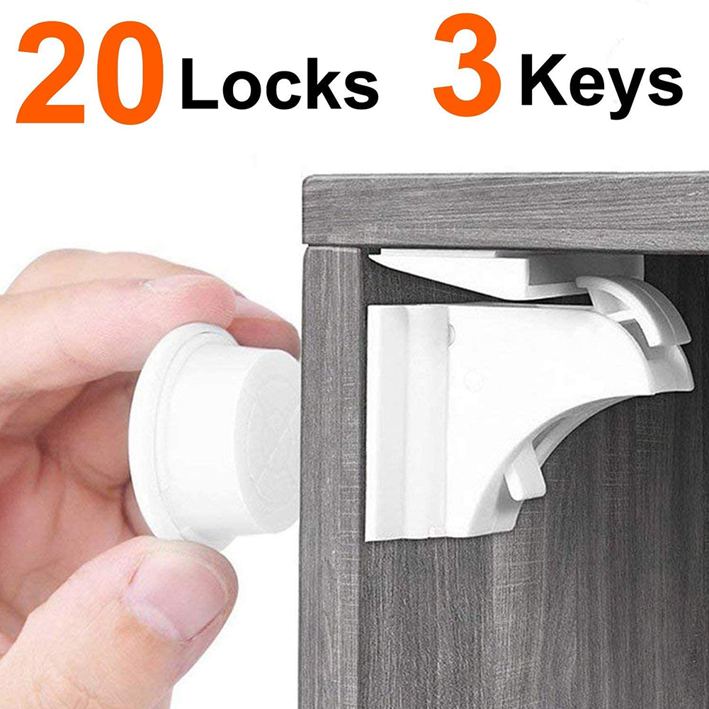 20Pcs Multifunction Kids Safety Locks Anti-pinch Hand Invisible Drawer Cabinet Door Locks Child Protection Tackle