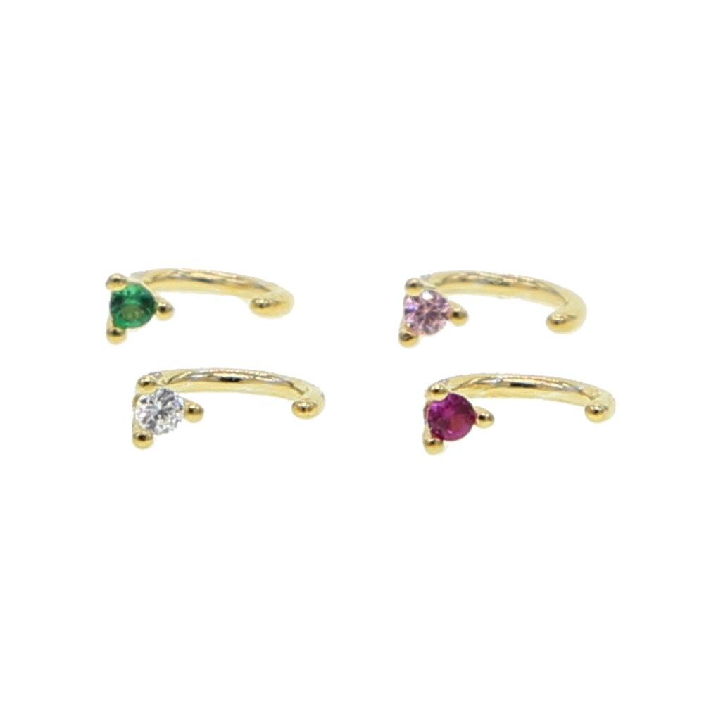 Fine Delicate 925 sterling silver multi women charm fashion jewelry 4 colors round birthstone cz minimalist huggie stud earrings