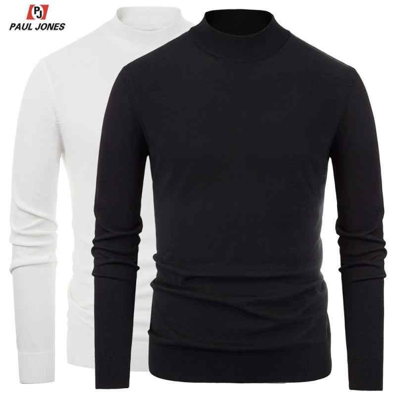 PAUL JONES herren Slim Fit Stricken Stoff Mock Neck T-Shirts Einfarbig Lange Hülse T-shirts Leichte Stricken Pullover Hemd tops