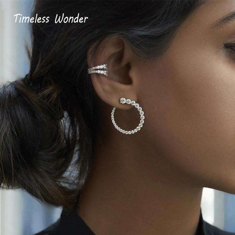 Timeless Wonder Crystal Zirconia Geo Hook Stud Earrings Women Jewelry Goth Boho Designer Top Trendy Ins Fancy Pop Rare Gift 8352