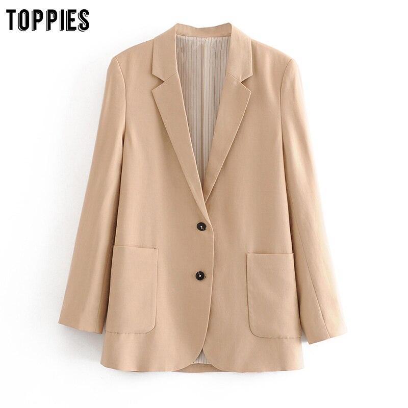 Toppies 2020 Spring Blazers Women Formal Suit Jacket Coat Office Ladies Blazer Solid Color Loose Outwear