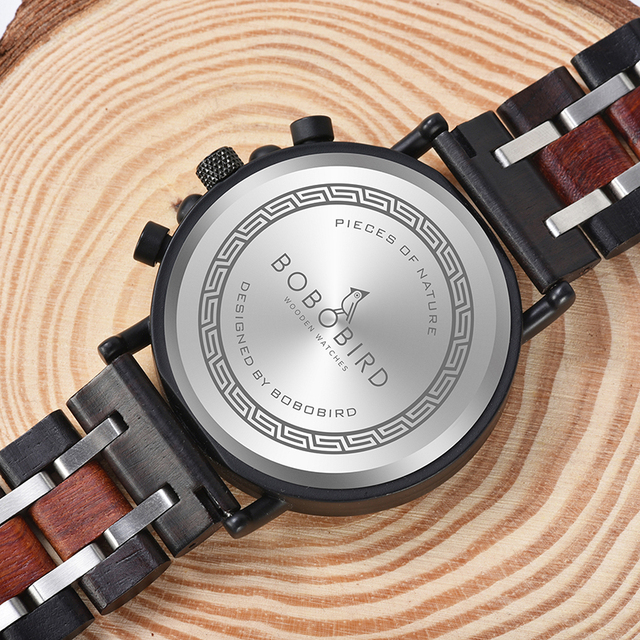 часы мужские Personalized BOBO BIRD Wood Watch Men Chronograph Military Watches Luxury Stylish With Wooden Box reloj hombre 4