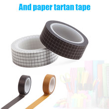 2 pcs Self Adhesive Washi Tape Scrapbooking Black White Green Brown Grid Masking Tape Decorative Stickers for Diary Stationery(China)