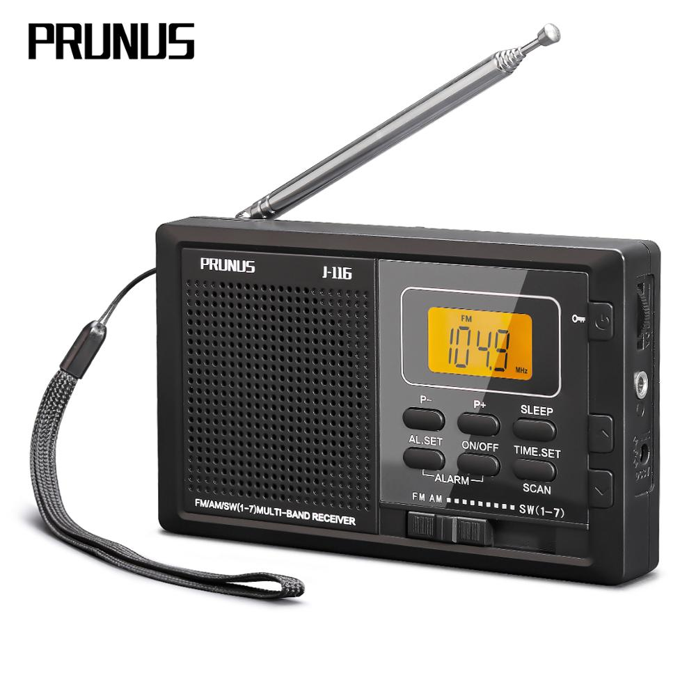 PRUNUS Portable radio receiver FM AM SW 9 band Digital Clock Radio with Earphone jack,Sleep timer,AA battery Operated radios