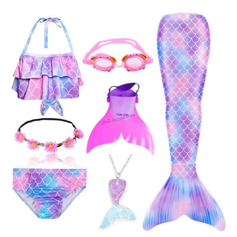 2020 New Kids Girls Mermaid Tail With Fin Swimsuit Bikini Bathing Suit Dress For Girls With Flipper Monofin For Swimming