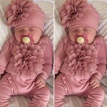 CYSINCOS/Одежда для новорожденных; комбинезон с длинными рукавами для маленьких девочек; розовый комбинезон с цветочным рисунком; шапка для малышей; комплекты одежды для маленьких девочек;