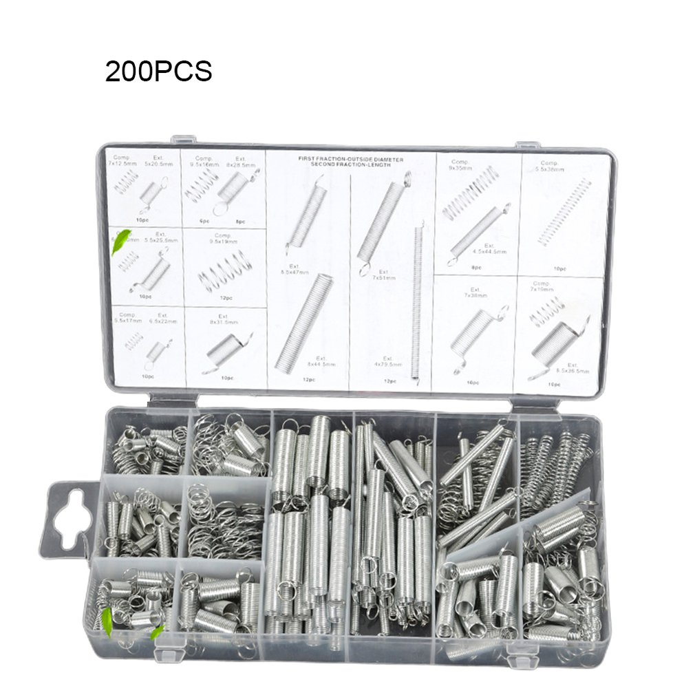 200pcs/pack Spring Assortment Spiral Spring Galvanized Spring Set Spring Rate Extension Spring Parts