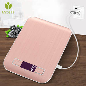 Kitchen Scale Measuring-Tools Usb-Charging Digital Stainless-Steel Electronic LCD 5000g/1g