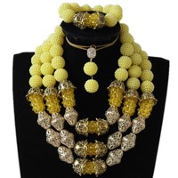 Dudo Store African Party Bead Jewelry Set Yellow And Gold Balls African Crystal Bridal Jewelry Set 3 Layers Earring Necklace Set