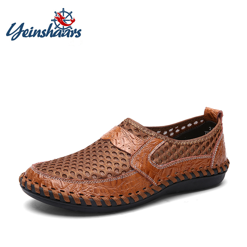 YEINSHAARS Casual Shoes Men Summer Breathable Mesh Footwear Fashion Soft Male Outdoor Moccasins Comfortable Tennis Loafers