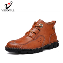 VESONAL 2019 primavera otoño Vintage clásico cuero genuino hombres zapatos Casual alto zapatillas de deporte para hombre Calzado cómodo