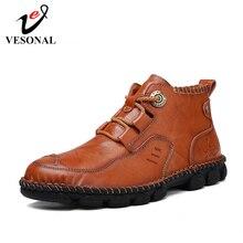 Мужские классические кроссовки VESONAL из натуральной кожи, Повседневные высокие кроссовки для мужчин, удобная обувь, весна осень 2019