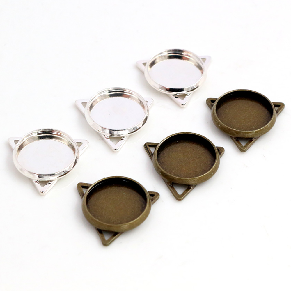 16pcs/lot 12mm Inner Size Silver Plated And Bronze Plated Material Simple Style Cabochon Base Cameo Setting Charms Pendants Tray
