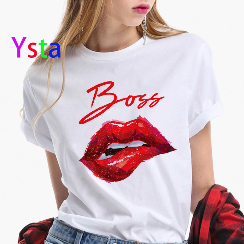 Boss Creative Letter Print T Shirt Women Sexy Lips Mperial Crown Colorful Letters Top Tees Korea Style Fashion Clothing Female