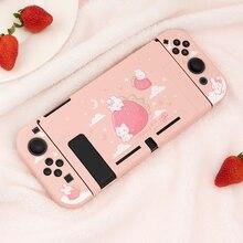 Geekshare Nintendo Switch, милый розовый чехол из мягкого ТПУ с изображением клубники кролика для девочек в стиле сказочной лиги, чехол-накладка для жен...