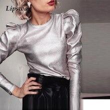 Elegant O Neck Women Slim Fit Blouses Autumn Puff Long Sleev