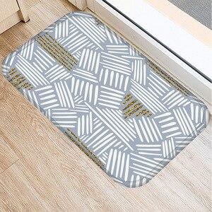 Image 4 - 40 * 60cm Stripe Paint Floor Mat Non slip Suede Carpet Door Mat Kitchen Living Room Floor Mat Home Bedroom Decorative Floor Mat.