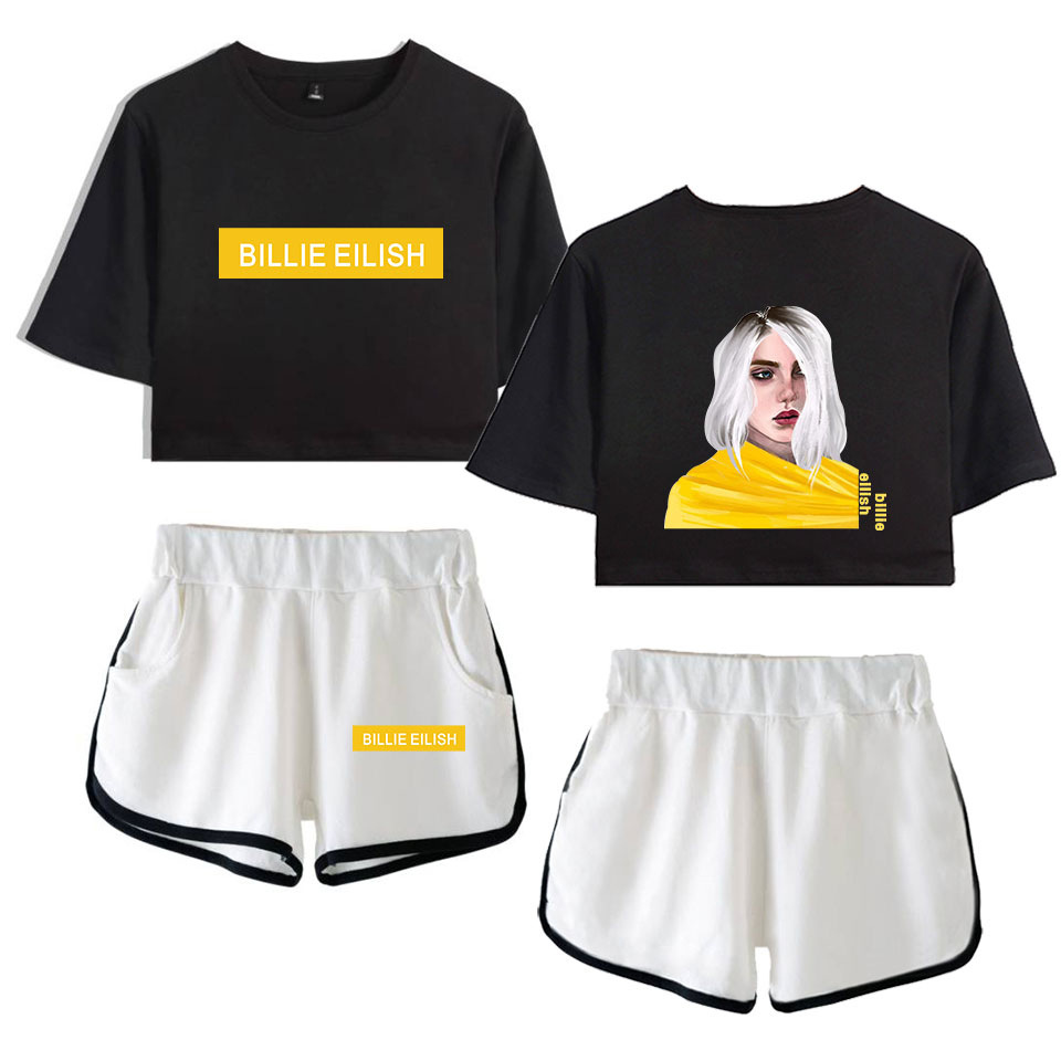 Color : Black B, Size : XS AAZZYUN Billie Eilish Kurzarm T-Shirt Top und Shorts Set 2 St/ück Gymnastik-Trainings-Laufanzug