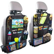 Car Backseat Organizer with Touch Screen Tablet Holder + 9 Storage Pockets Kick Mats Car Seat Back Protectors Great Travel Acces
