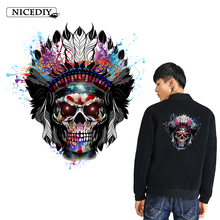 Nicediy Punk Colorful Skull Patches Heat Transfer Vinyl Sticker Hippie Applique On Clothes Stickers Rock Badge Decor Washable