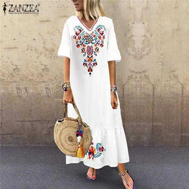 ZANZEA 2020 frauen Sommerkleid Böhmischen Gedruckt Maxi Kleid Sommer Casual V-ausschnitt Rüschen Vestidos Weibliche Kurzarm Floral Robe