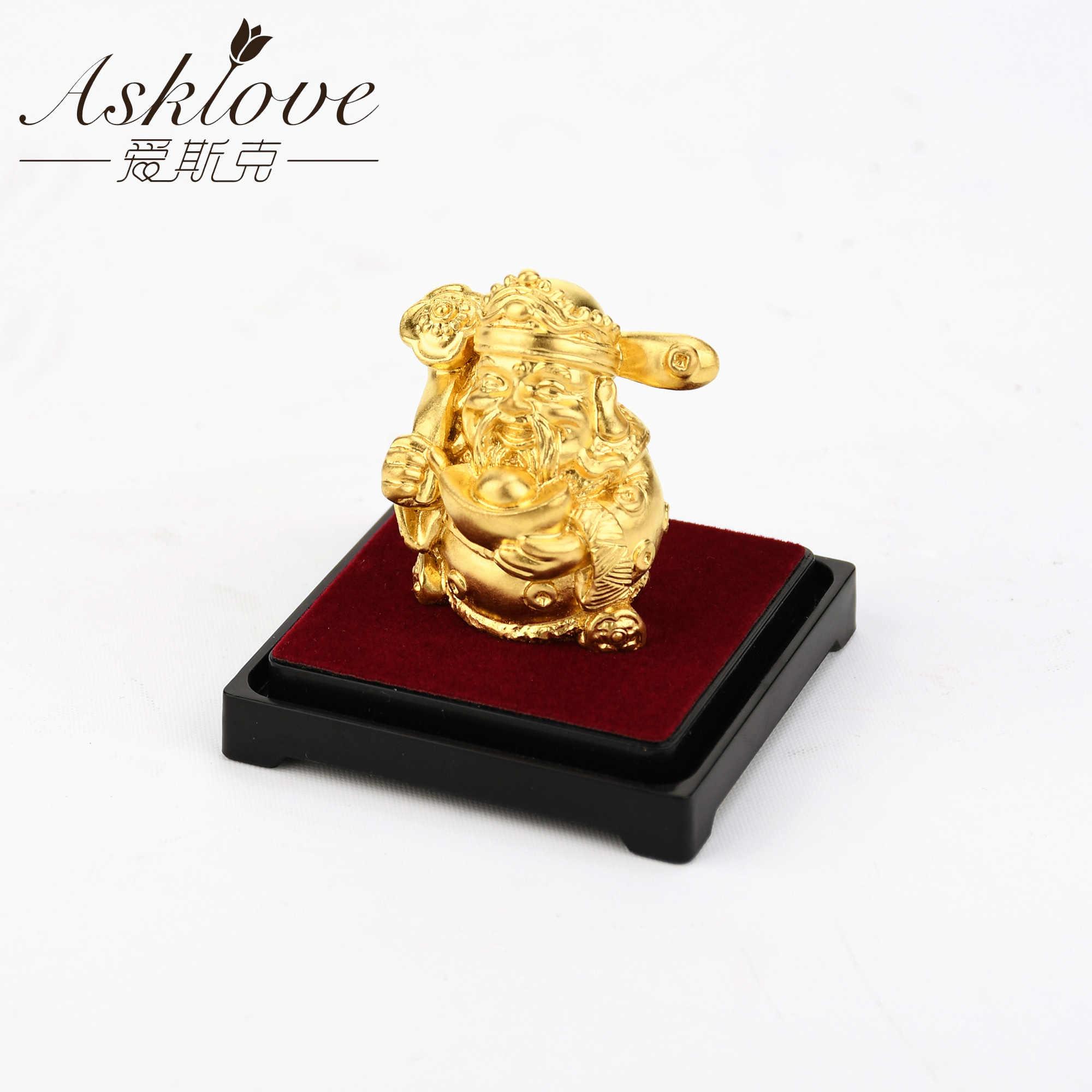 De God Van Rijkdom Feng Shui Decor 24K Goud Folie Standbeeld Rijkdom God Kantoor Ornament Ambachten Verzamelen Rijkdom Thuis kantoor Decoratie