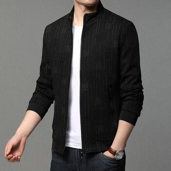 2020 New Brand Casual Fashion Streetwear Striped Zipper Mens Bomber Jackets Windbreaker Coats High Quality Korean Men Clothing new fashion women female korean short type long sleeve slim motor zipper leather jackets coats