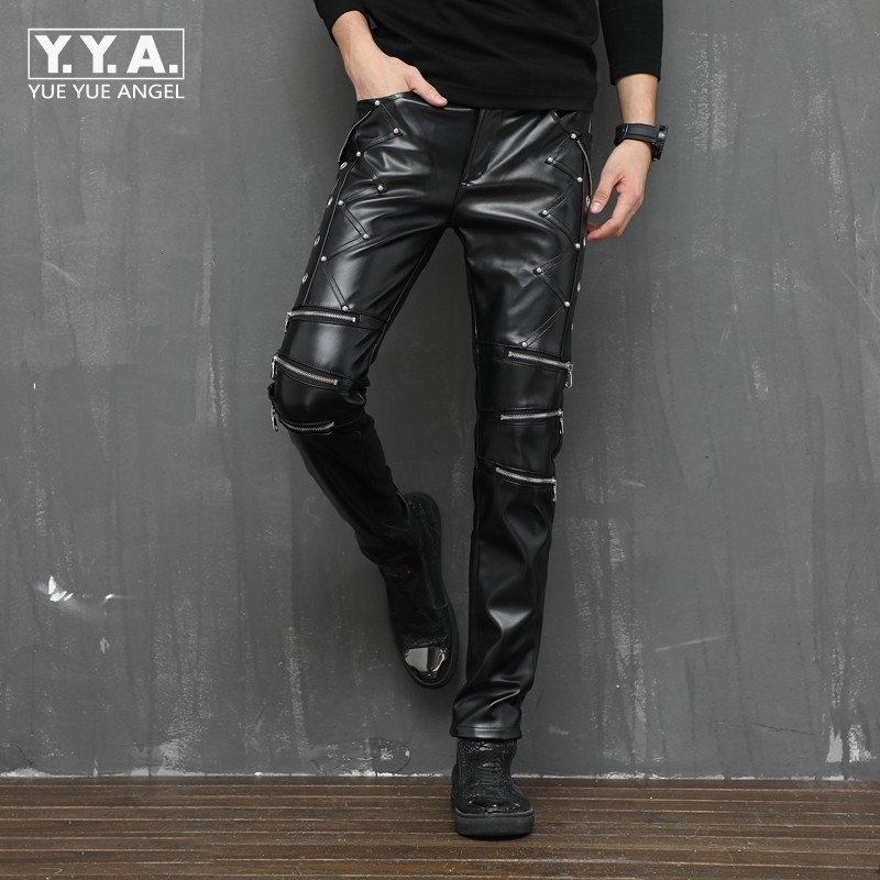 2020 New Arrival Winter Personality Pu Leather Pants Men Sexy Night Club Slim Fit Skinny Male Trousers Stretchy Pencil Pants