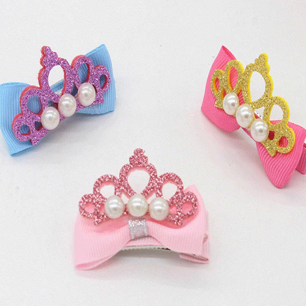 Nouveauté bébé filles enfants brillant couronne strass épingles à cheveux princesse ruban arc cristal pince à cheveux perle Barrette accessoires