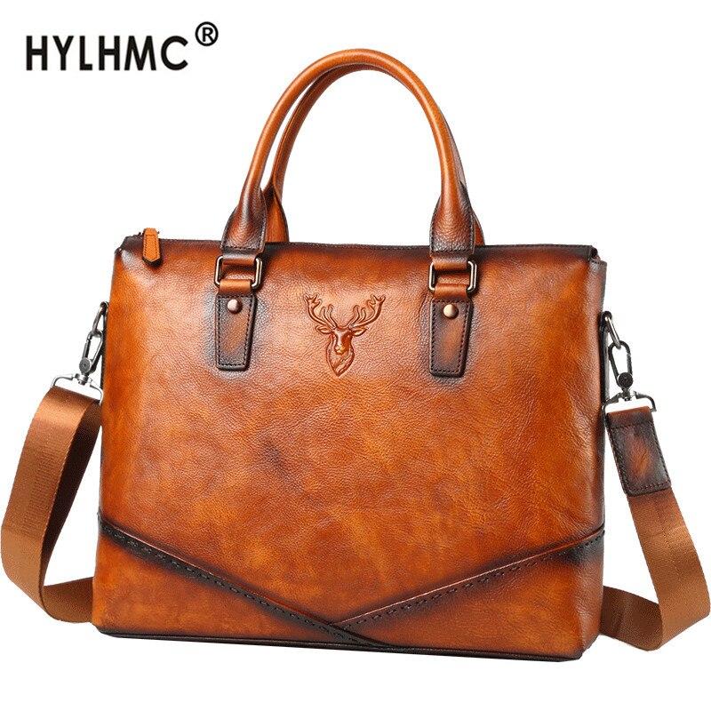 Leather Briefcase Men's Bag Business Handbag 14 Inch Laptop Bag Men Shoulder Messenger Bag Europe And America Casual Leather Bag